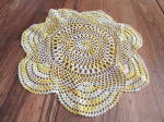 Click here to enlarge image and see more about item 8280: Yellow Hand Crocheted Doily