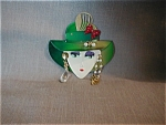 Lady In Green Hat Pin