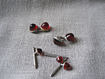 Red Cuff Links and Shirt Buttons