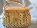 Leather Handle and Lid Wicker Purse