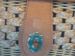 Click to view larger image of Leather Handle and Lid Wicker Purse (Image3)