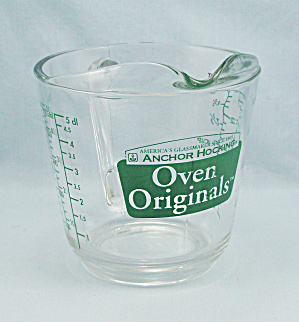 Anchor Hocking 498 - Two-cup Measuring - Oven Originals, Green