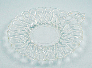 Pretzel Clear, By Indiana Glass - Cheese Plate, Handled