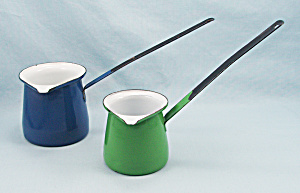 Graniteware - 2 Butter Melter / Pourers - Blue & Green
