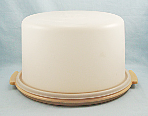 Tupperware 684-7, 683-7 -Medium Cake Carrier, Harvest Gold Base (Image1)