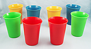 8 - Tupperware 109 - 7 Oz. Bell Tumblers, Primary Colors.