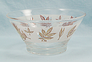 Golden Foliage Dip Bowl, For Chip N Dip Set, Libbey Glass