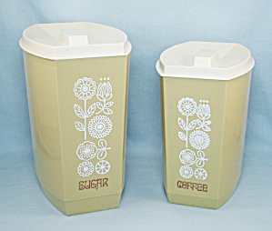 Two Lustro Ware, Mid Century Kitchen Canisters, Harvest Gold