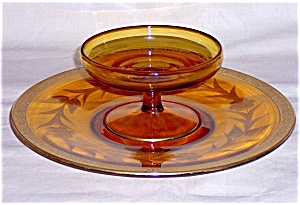 AMBER CHEESE & CRACKER SET- ETCHED (Image1)