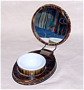 Celluloid Tortoise Shell Folding Shaving Mirror (Image1)