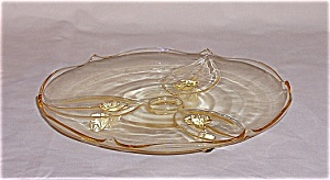 Lancaster Glass / Elegant Three Footed Muffin/ Cake Plate- Sahara- Queen Ann Style (Image1)