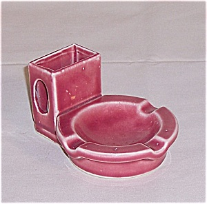 Pink Pottery Ash Tray/ Match Holder (Image1)