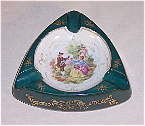 Hand Painted Japan- Ash Tray – Enameled Victorian	Style (Image1)