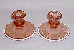 Depression Glass Candle Pair (Image1)