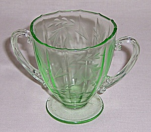 Green Glass - Tiffin - Etched Footed Sugar