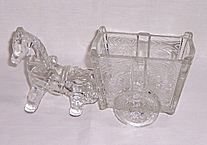 Figural Glass Candy Container - Large Glass Pony And Two Wheeled Cart