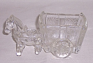 Figural Glass Candy Container �Glass Pony and Two Wheeled Cart (Image1)