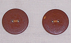 Two Brown/Rust Bakelite Buttons (Image1)