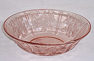 Federal Glass Co. - Sharon – Cabbage Rose – Pink  Fruit Bowl (Image1)