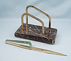 German MARBLE Base Letter Stand / Holder & Letter Opener (Image1)