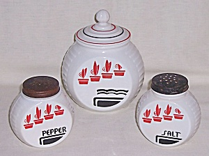 Hocking – Vitrock – Red Flower Pots – Salt, Pepper & Grease Jar (Image1)
