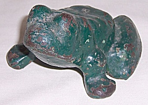 Metal Doorstop - Frog - Original Green Paint