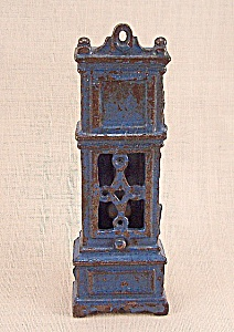 Kilgore, Cast Iron, Dollhouse Furniture, Blue Grandfather Clock (Image1)