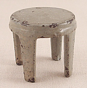 Kilgore, Cast Iron, Dollhouse Furniture, Gray Stool - B