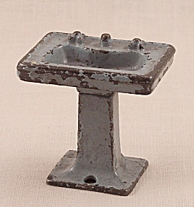 Kilgore, Cast Iron, Dollhouse Furniture, Gray Bathroom Sink, Lavatory Stand - No. T-28