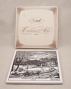 Currier & Ives Art Tile – American Winter Scene – Evening (Image1)