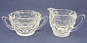 Jeannette Glass Co. – Cube – Cubist – Crystal, Cream and Sugar (Image1)