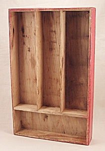 Wood Sectioned Box - Red Silverware Tray (Image1)