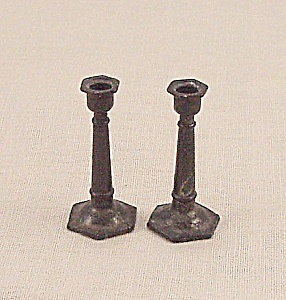 Doll House Furniture - Candle Pair - Metal Candlesticks - B