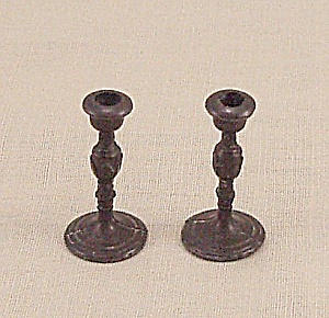 Doll House Furniture - Candle Pair - Metal Candlesticks - C