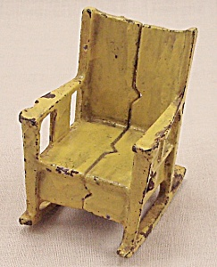 Kilgore, Cast Iron, Dollhouse Furniture, Yellow Rocking Chair (Image1)