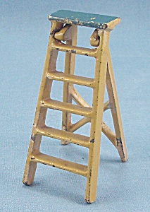 Kilgore, Cast Iron, Dollhouse Furniture, Yellow Folding Step-Ladder	 (Image1)