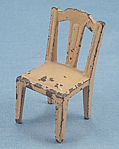 Kilgore, Cast Iron, Dollhouse Furniture, Yellow Side Chair - B
