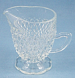 Crystal Footed Creamer – Diamond Point – Indiana Glass (Image1)