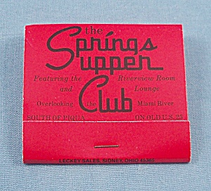 Matchbook - Springs Supper Club - Piqua, Ohio