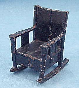 Kilgore, Cast Iron, Dollhouse Furniture, Black Rocker/ Rocking Chair