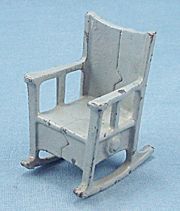 Kilgore, Cast Iron, Dollhouse Furniture, Rocker/ Rocking Chair � Blue/Gray (Image1)