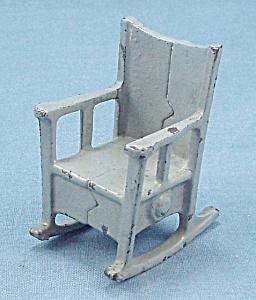 Kilgore, Cast Iron, Dollhouse Furniture, Rocker/ Rocking Chair – Blue/Gray (Image1)