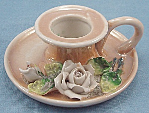 Made In Germany - Miniature Lusterware Finger Ring Candlestick - Porcelain