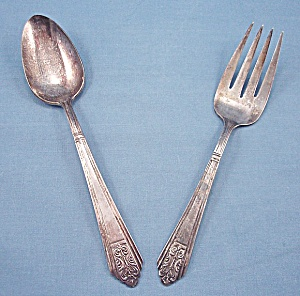 International Silver – Royal Saxony – Silverplate – 1935 – Meat Fork & Serving Spoon (Image1)