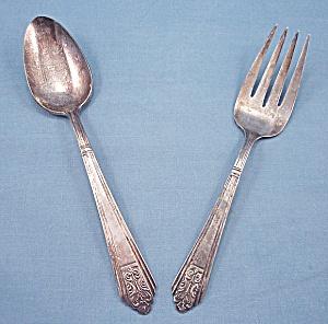 International Silver – Royal Saxony – Silverplate – 1935 – Meat Fork & Serving Spoon (Image1)