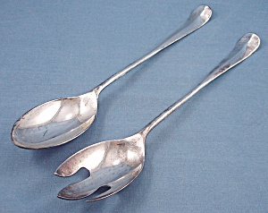 Silverplate – Italy – Spoon & Fork - Salad Serving Set (Image1)