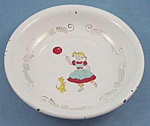 Child's  Graniteware / Enamel Cereal Bowl	-  Girl, Dog & Balloon (Image1)