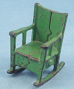 Kilgore, Cast Iron, Dollhouse Furniture, Rocker/ Rocking Chair -green