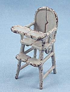 Kilgore Mfg. Co. - Cast Iron - Dollhouse Furniture- High Chair -gray