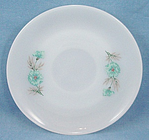 Fire King - Bonnie Blue - Saucer - White With Floral Decals